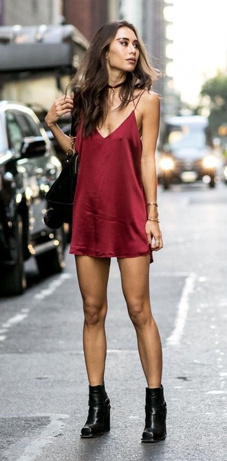 dress red dress slip dress mini dress boots black boots bag black bag summer dress blogger top blogger lifestyle jewels jewelry necklace choker necklace red slip dress spaghetti strap