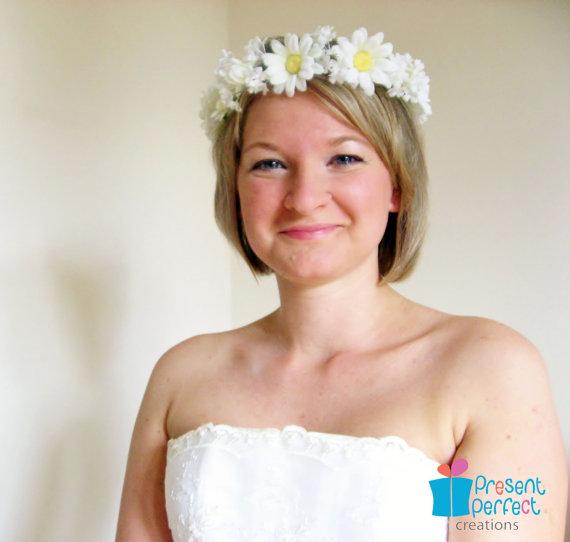 Daisy garland bridal floral crown bridal by presentperfectstudio