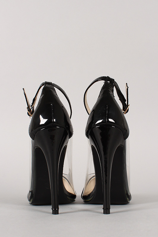 Liliana Olga-1A Patent Lucite Pointy Toe Stiletto Pump