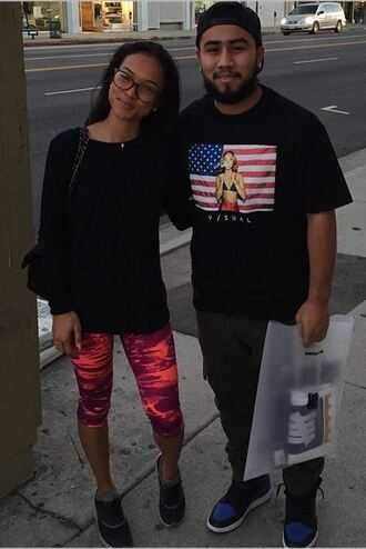 leggings karrueche streetstyle t-shirt red lime sunday