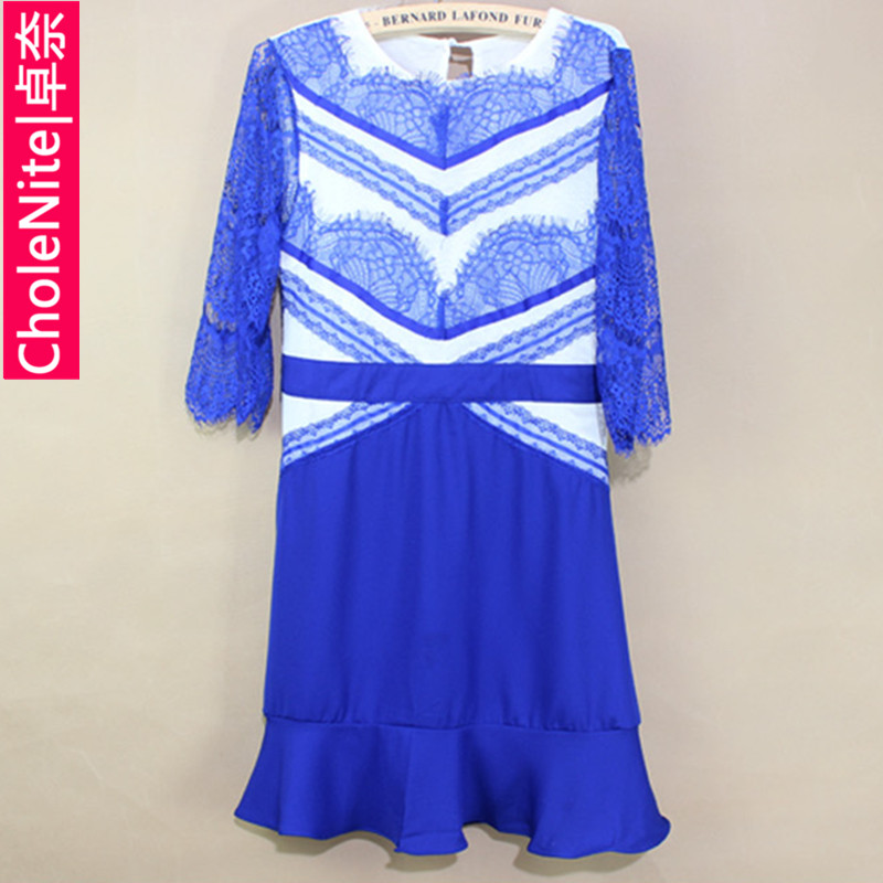 Cholenite2013 electrooptical blue eyelash lace patchwork ruffle dress one piece dress-inDresses from Apparel & Accessories on Aliexpress.com
