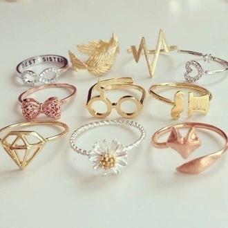 jewels ring bow infinity diamomd harry potter heart fox daisy