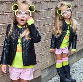 leather boots girly leather jacket sunglasses fashion girl knee high socks yellow kids fashion fashion kids