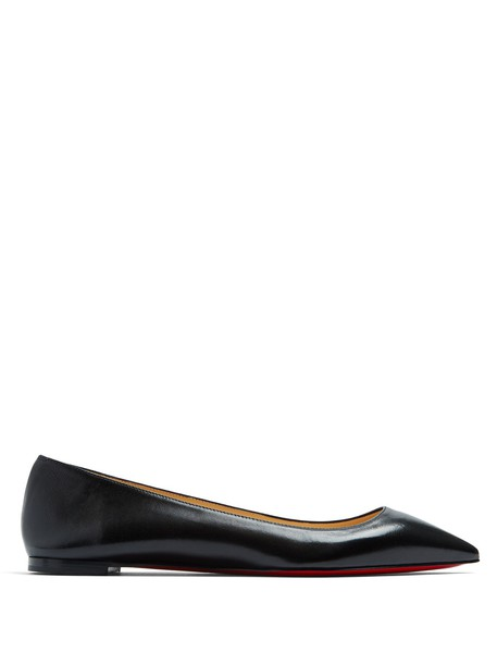 christian louboutin flats leather flats leather black shoes