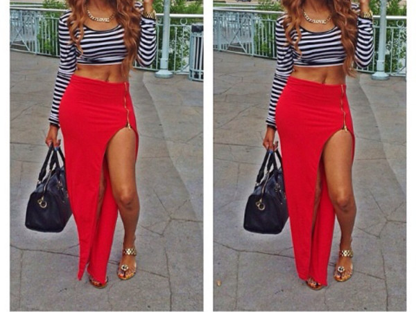 red skirt slit skirt long red skirt t-shirt shoes slit maxi skirt