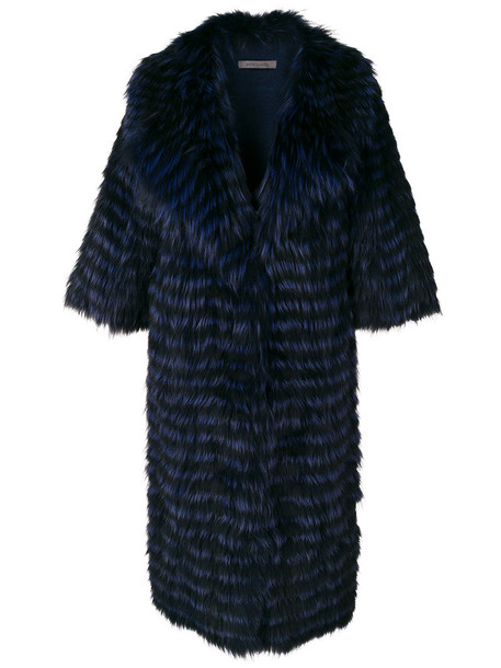 SIMONETTA RAVIZZA coat fur fox women blue wool