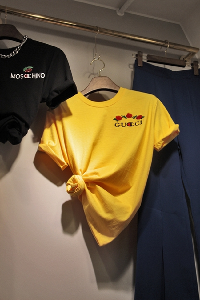 3d76d3a0 t-shirt, gucci, cool, yellow, trendy, fashion, style, champion ...