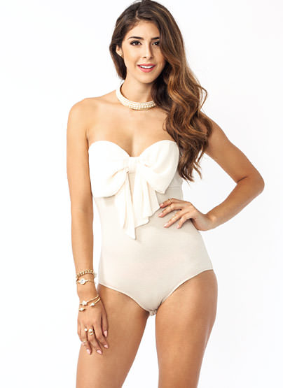 GJ | Strapless Georgette Bow Bodysuit $29.80 in BLACK CORAL CREAM - Bodysuits | GoJane.com