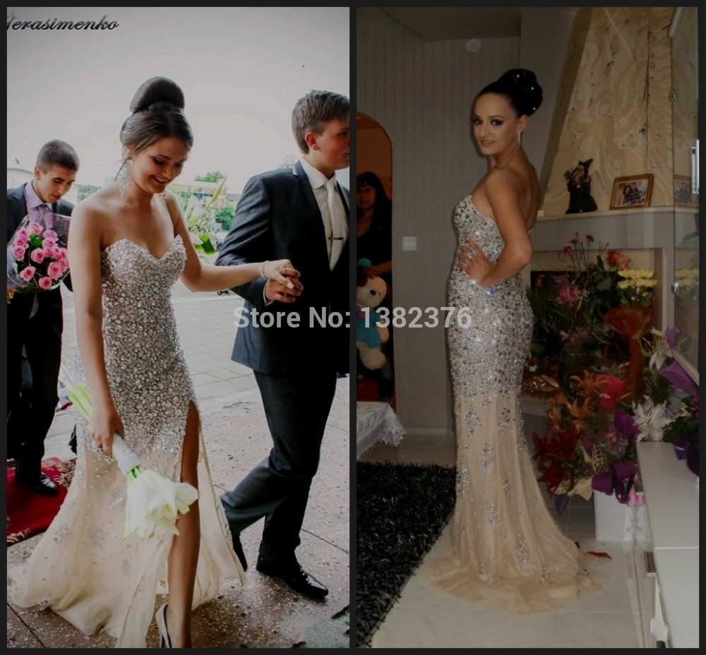 Aliexpress.com : buy custom made sweetheart luxury sparkle rhinestones crystals memmaid champagne mermaid prom dress prom gowns 2014 from reliable gown store suppliers on angellover weddings&events dresses co.,ltd.
