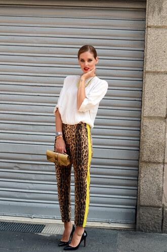 pants leopard print yellow ciara