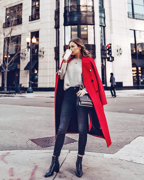 coat tumblr red coat long coat sweater knit knitwear knitted sweater denim jeans black jeans skinny jeans boots black boots ankle boots