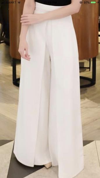 pants white wide leg trousers