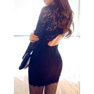 dress lace black long sleeves elegant fashion style party trendsgal.com