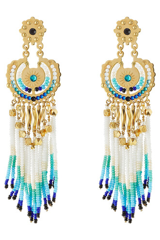 earrings gold multicolor jewels