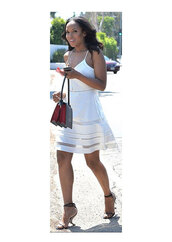 kerry washington,dress,white dress,bag
