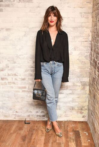 shirt jeanne damas black shirt fashionista long sleeves jeans blue jeans bag black bag spring outfits shoes gold shoes