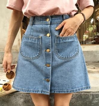 skirt girly denim denim skirt button up button up denim skirt button up skirt blue