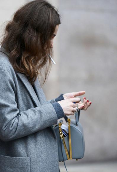 grey blazer grey bag