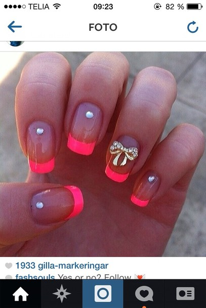 Nail polish: nails, pink nails, neon pink, jewels, jewelry, nail art ...
