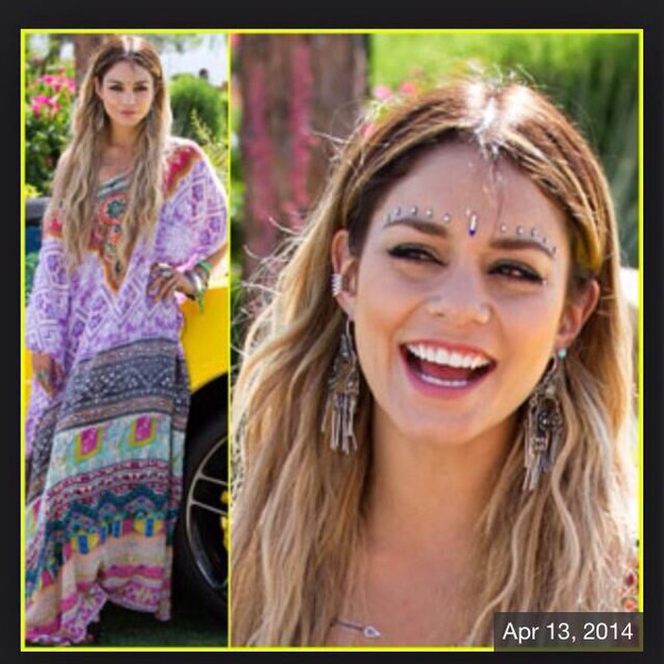 vanessa hudgens aztec bohemian dress purple dress jewels