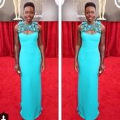 dress,lupita nyong'o,light blue dress