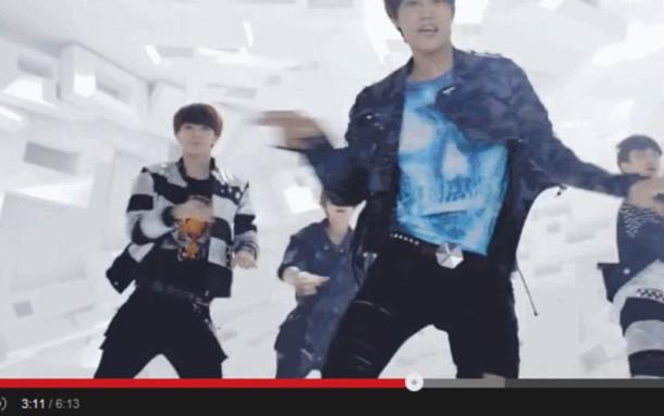 skull blue t-shirt kim jong in music video korean fashion print menswear kfashion shirt kim jongin exo korean fashion t-shirt kai