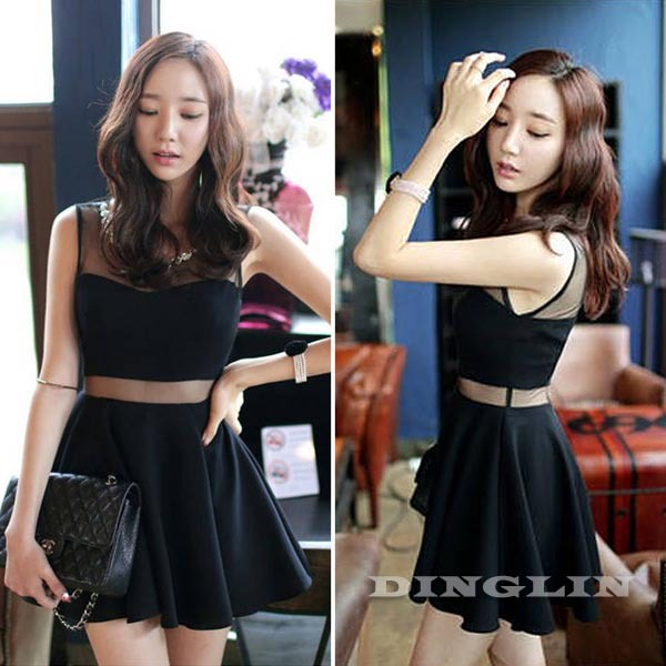 New Sexy Women Ladies Backless Sleeveless Sheer Mesh Cotton Summer Club Party Skater One Piece Mini Dress Black Size XS S M 1304-in Dresses from Apparel & Accessories on Aliexpress.com