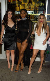 dress,Fifth Harmony,mini dress,white dress,plunge dress,Ally Brooke,lauren jauregui,Normani Kordei Hamilton,Normani Hamilton