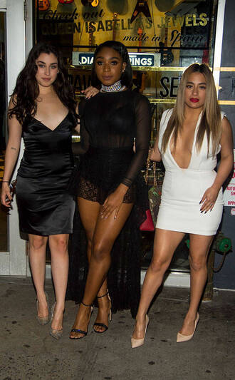 dress fifth harmony mini dress white dress plunge dress ally brooke lauren jauregui normani kordei hamilton normani hamilton