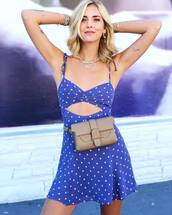 bag,belt bag,blogger,blogger style,polka dots,chiara ferragni,instagram,summer dress