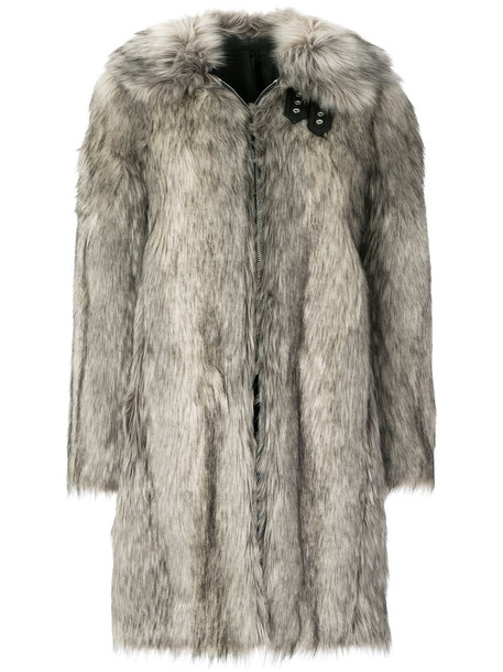 Helmut Lang coat wolf fur women cotton grey
