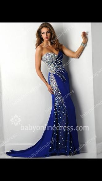 dress blue sparkle long long dress prom prom dress rhinestones silver