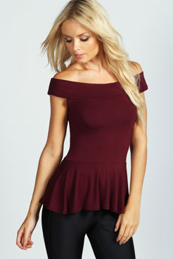 Julia Off The Shoulder Peplum Top at boohoo.com