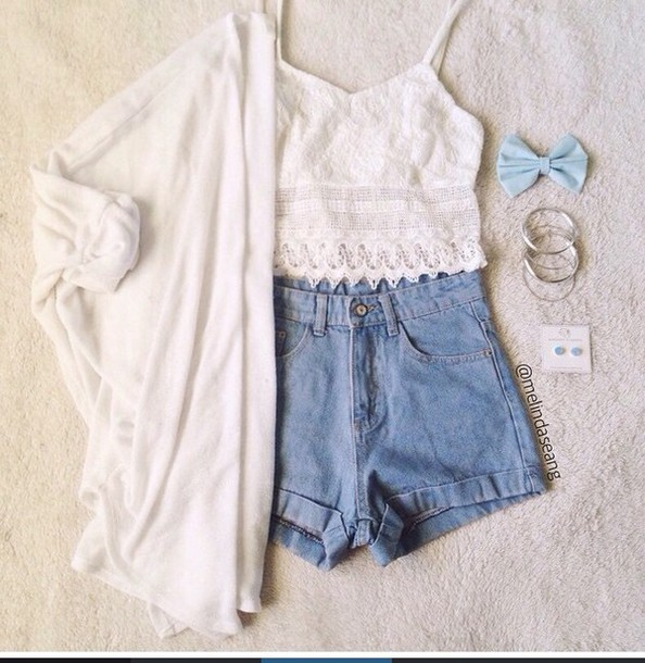 top shorts cardigan hair accessory