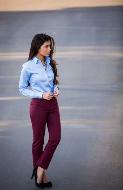 shirt light shirt light blue button up burgundy pants button up shirt pants