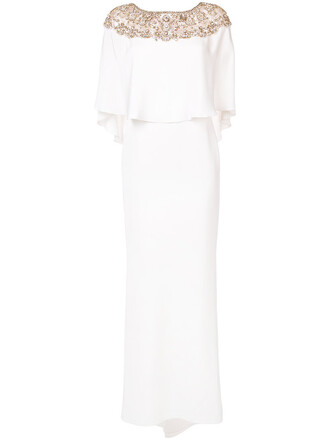 gown women spandex beaded white silk dress