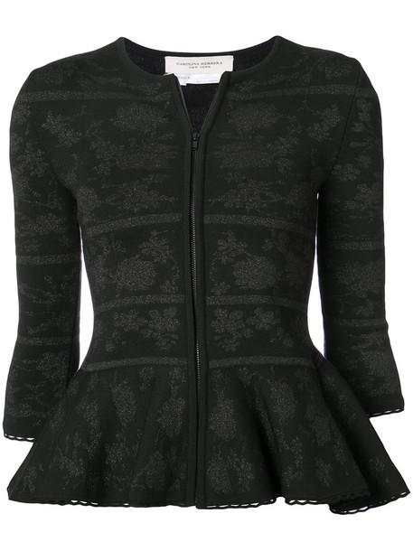 Carolina Herrera jacket women jacquard black wool knit