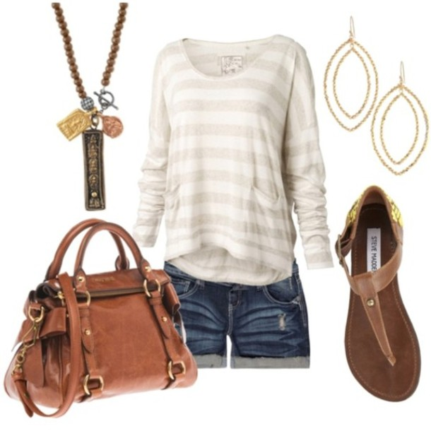 sweater bag denim shorts sandals stripes nail accessories clairs blouse earrings leather loose loose purse leather bag shorts short shorts swimwear shirt