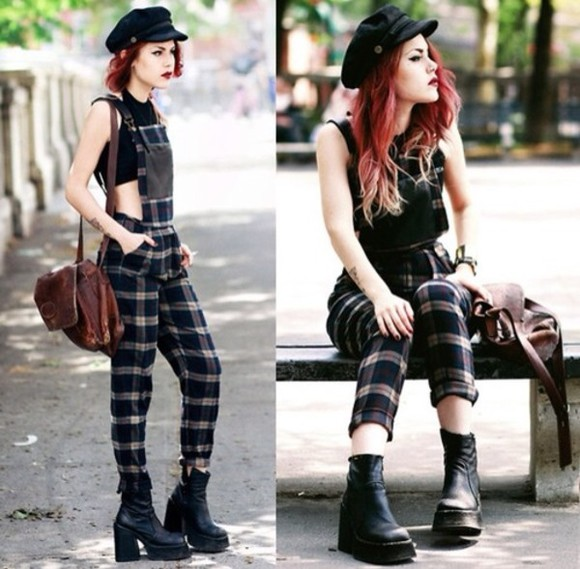 jumpsuit black boots flannel overalls shoes checkered hat long hair red bag black crop top long overalls pants