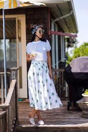 skirt,midi skirt,t-shirt,bandana,hair accessory,blogger,blogger style,mules slides,striped top,striped t-shirt