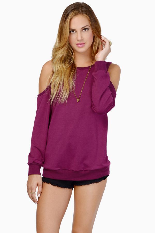 Crystal Cold Shoulder Sweater $44