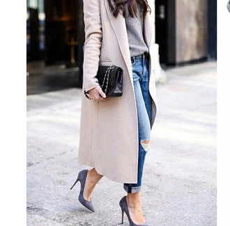 shoes streetstyle coat jeans bag pants stilettos