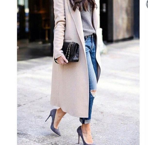 shoes streetstyle coat jeans bag pants stilettos nude coat beige coat