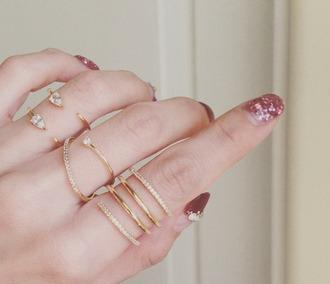 jewels ring set ring cute gold gold ring fake diamonds