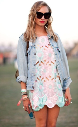 dress cut-out dress pastel flowers floral festival