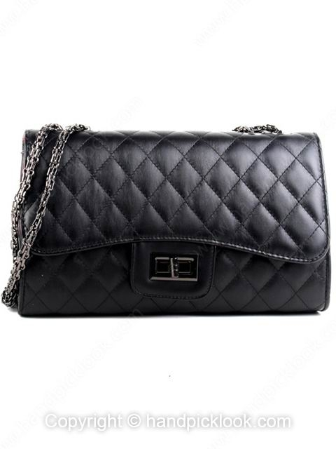 Black Twist Lock Quilted Embellished Chain Shoulder Bag - HandpickLook.com