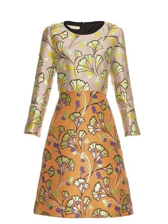 dress jacquard floral orange