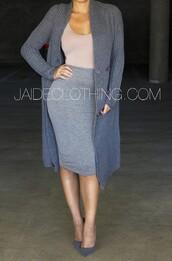 tank top,jaide,clothes,pencil skirt,sweater,cardigan,grey sweater,nude,skirt