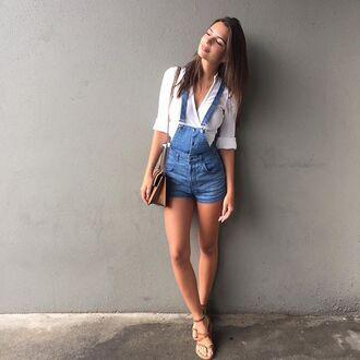 shorts denim sandals emily ratajkowski instagram romper jumpsuit denim overalls sexy shirt dungarees overalls white shirt