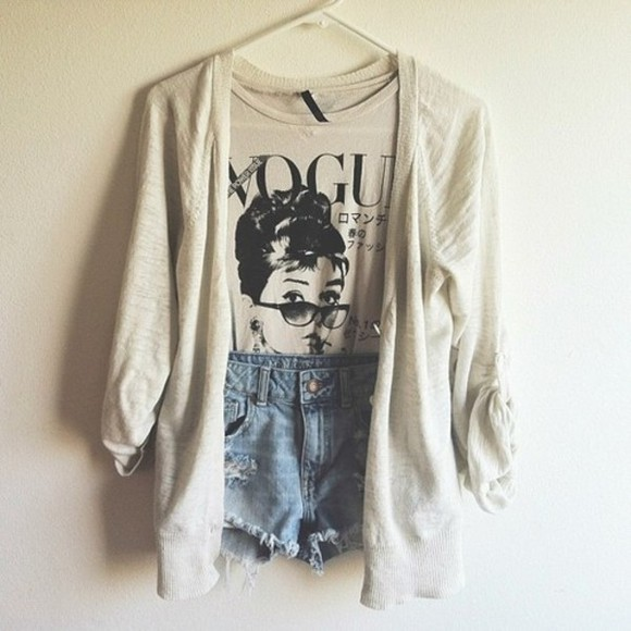 vogue shirt audrey hepburn cute, sweater, girly, sweater white jeans whitney port oversized cardigan shorts t-shirts cardigan coat blouse tank top vintage vouge fashion pretty stylish